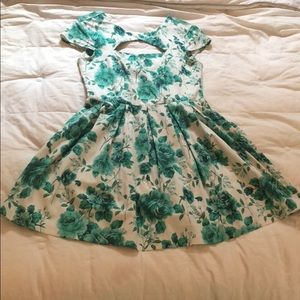 Green and white rose cut-out dress
